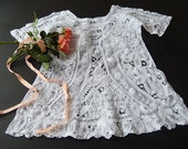 Vintage French Handmade Baby Dress Exceptional Lace and Embroidery