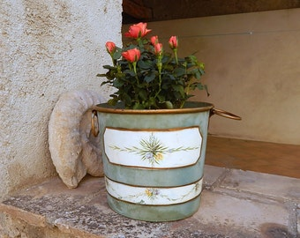 Vintage French Bucket with Blue-Green Paint