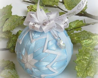 Quilted Christmas Ornament ribbon ornament blue Christmas