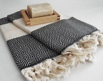 SALE 30 OFF/ Head and Hand Towel / Diamond Style / Black