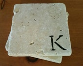 "Custom Coasters 4"" x 4"" Tumbled Stone, Personalized Coasters, Monogrammed Coasters, Cottage Decor Gifts under 20"