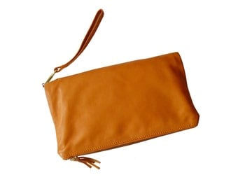 Alberta di Canio Orange Leather Foldover Clutch Wristlet Made in Italy