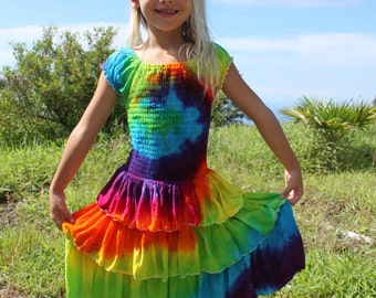 Tie Dye Girls Ruffle Dress