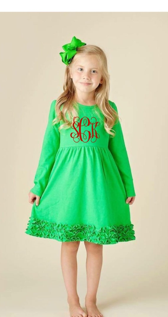Girls Monogrammed Dress Christmas dress Holiday outfit