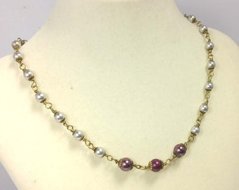 Maroon, Burgundy and Silver Swarovski Crystal Pearls on Antiqued Gold-Plated Brass Necklace