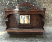 RESERVED Antique Furniture Wood Organ Top with Beveled Mirror Hall Tree Coat Rack Hanging Bar Victorian Furniture