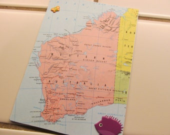 Western Australia Atlas Card -- Upcycled, Maps, Australia, Perth, Nullarbor Plain