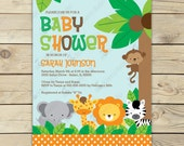 Jungle Safari Baby Shower Invitation Printable - Safari Baby Shower Invites - Jungle Baby Shower Invitation - Boy Baby Shower Invite