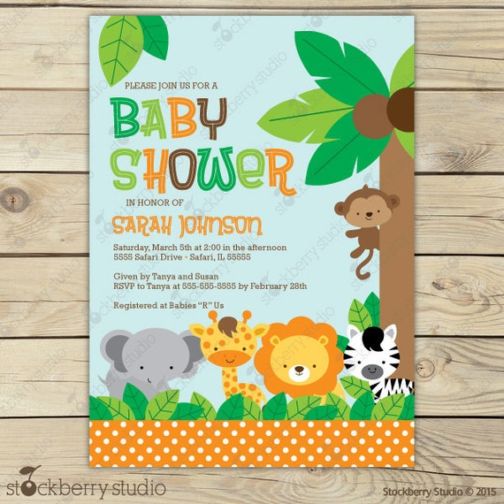 Blue Safari Baby Shower Invitations is nice invitations design