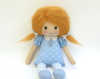 cloth doll in blue polka dot dress, red haired doll, rag doll, lybo doll, room decor handmade doll