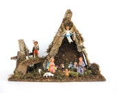 Vintage Nativity Creche Set Large Wood Manger Scene 10 Piece Figurines Made in Italy Mid Century Diorama Christmas Decoration