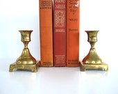 Vintage Brass Candle Holder Pair Set of Two Solid Brass Short Taper Candleholder Candlesticks Enesco Asian Wedding Decor