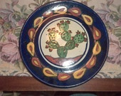 Mexican Pottery Plate Cactus Signed Handmade Hand Painted