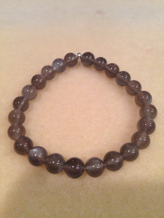 Black Moonstone Bracelet 8mm Round Bead Stretch Bracelet With