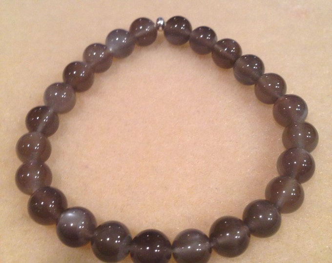 Black Moonstone Bracelet 8mm Round Bead Stretch Bracelet With Sterling Silver Accent