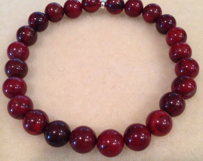 Brecciated Flame Red Jasper 8mm Round Bead Stretch Bracelet With Sterling Silver Accent
