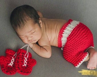 Boxing Shorts and Gloves, Newborn Photo Prop, Sport Sets for Baby, Halloween Costumes, Boxing Gloves, Baby Boy, Fight Set, WWFC
