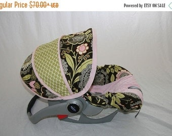 Summer SALE Baby Girl Infant car seat cover-dark brown background with Lacework print and pink minky -  Always comes with FREE strap Covers