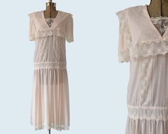 1980s Jessica McClintock Edwardian Stye Dress size S
