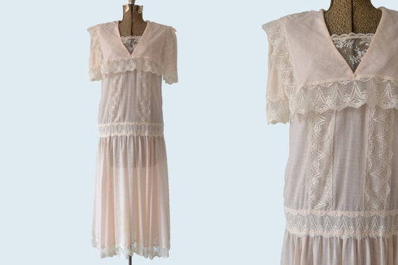 1980s Jessica McClintock Edwardian Stye Dress size S