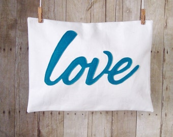 Love Pillow / Lots of colors / lumbar pillow / 12 x 16  / love applique