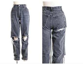 All SIZES Black Open Knee  Jeans Plus Sizes