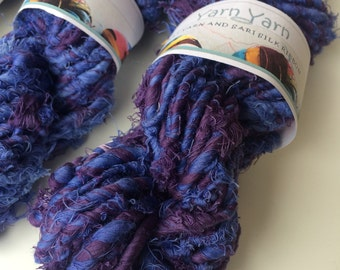Super chunky recycled cotton yarn, big yarn from recycled cotton threads. 200g. Orchid plum, knit, crochet, weave, fibre art.