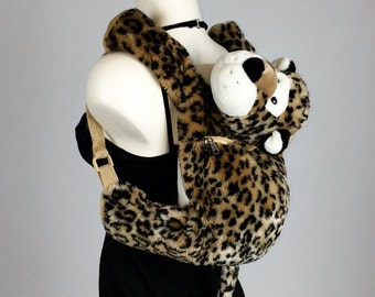 90's Plush Leopard Stuffed Animal Backpack