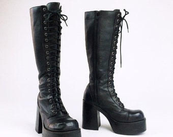 90's Grunge Black Leather Lace Up Knee Combat Industrial Boots // 8.5