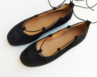 leather ballet flats, black suede, womens flat, gladiator shoes
