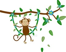 Jungle Monkey Swinging on Branch Vine Wall Decal Sticker Baby Boy Nursery -HD