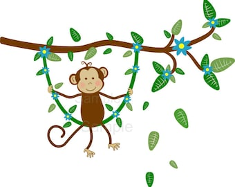 Jungle Monkey Swinging on Branch Vine Wall Decal Sticker Baby Boy Nursery -HD