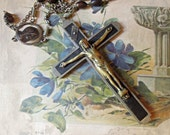 Vintage / Antique Rosary Crusifix / Inlaid Wood / Sterling / Pectoral Crcifix / Wood Beads / Nuns Pectoral Crucifix Large Rosary Corpus