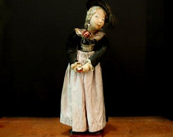 Antique Hand Crafted Victorian Peddler Doll / Fabric Face Body Doll / Hand Painted Face Doll / Christmas Decoration / Victorian Clothing