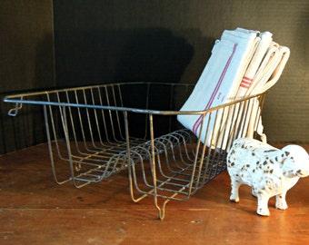 Vintage Wire Dish Drainer Basket / Wire Rack / Kitchen Sink Metal Drainer / Retro Kitchen / Studio Organization