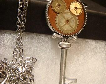 Clockwork Gears Mickey Head Silver Key Necklace- Disney Inspired (1950)