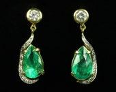 Decadent! 12.50tcw Colombian Emerald & Diamond Dangle Earrings 14k