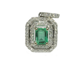 Magnificent Beauty!  1.0tcw Colombian Emerald & Diamond Pendant 14k