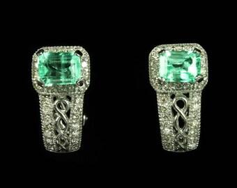 3.0tcw  Colombian Emerald & Diamond Earrings 14k