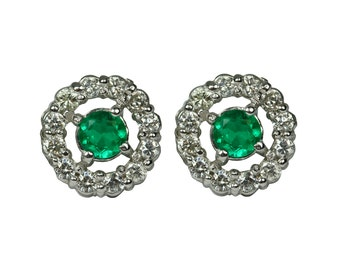 Ideal Colombian Emerald and Diamond Halo Earrings