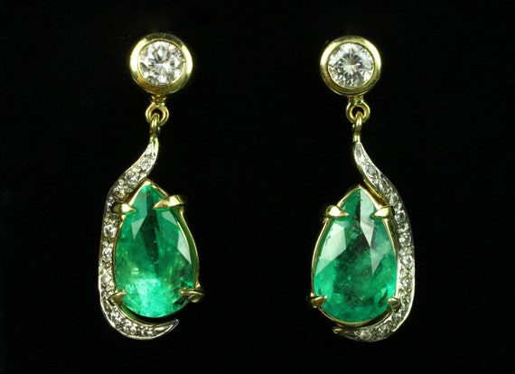 13.90tcw Colombian Emerald & Diamond Dangle Earrings 14k, Natural Emerald and diamond Earrings, Diamond Dangle Earrings, May Birthstone