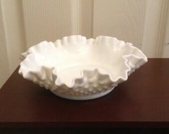 Vintage Fenton Hobnail White Milk Glass Candy Dish, Bon Bon Dish, Signed