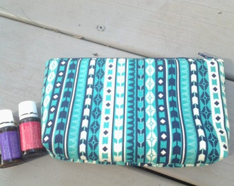 Essential Oil Bag - Personalized Oil Bag - Oil Bag - Monogrammed Gift - Modern Fabric - Cotton Zipper Pouch - Nail  Polish Bag