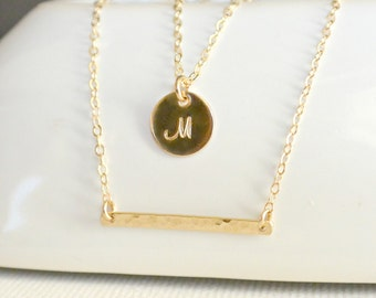 Gold Double Strand Initial Necklace/ Gold or Silver Layering Necklace/ Personalized Necklace/ Hammered Bar/ Layering Necklace set of Two