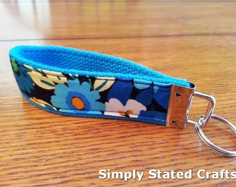 Hand Crafted Key Fob Wristlet/Key Chain made w/Vera Bradley Fabric - 10 in folded in half to 5 in
