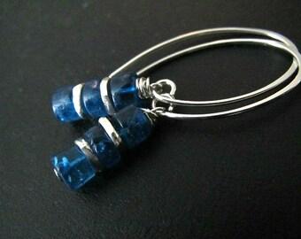 Raw Apatite Earrings | Sterling Silver Earrings | Natural Gemstone Earrings | Fine Silver Jewelry | Stacked Earrings | Teal Earrings
