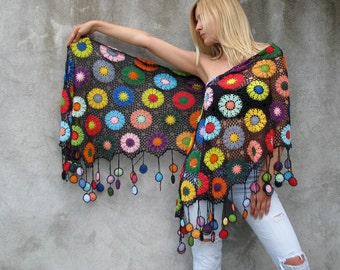 sunset moth (Chrysiridia rhipheus)...Women Accessories,100% cotton,Colorful amethist gray background Women's Scarves, Scarf  Crochet shawl