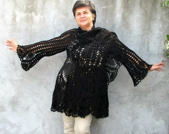 mystik...Hand Knit/crochet sweater Women / Outerwear/Coats Sizes XXL/XXXL