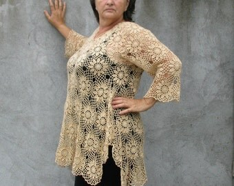 blouse top shirt lagenlook cream cotton  Plus Size Handcrocheted Tunic / Sweater XL/XXL 3/4 sleeves