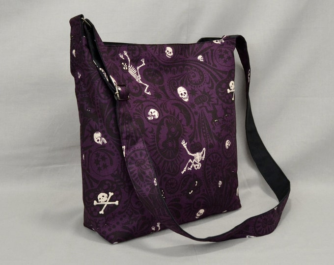 Large Crossbody Bag, Halloween Dark Purple and Black, Skulls Skeletons Pumpkins Bats, Fabric Canvas, Spooky Fun Shoulder Bag, Ready To Ship